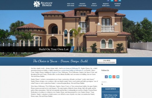 Stanley Homes Harvest Web Design Melbourne Florida Web Designer