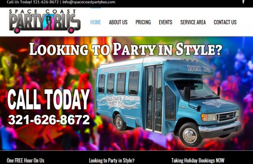 Space Coast Party Bus - Harvest Web Design Melbourne Florida Client
