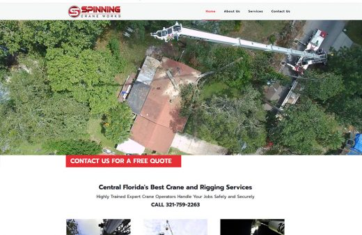 Spinning Crane Works website design by Harvest Web Design in Melbourne FL