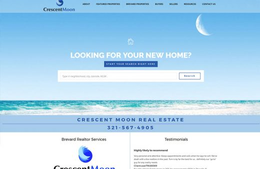 Crescent Moon Real Estate Website Design by Harvest Web Design in Melbourne FL