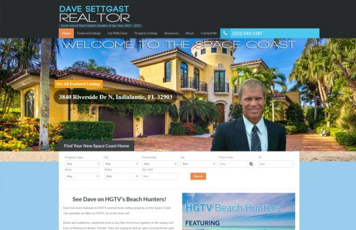 Dave Settgast Brevard Realtor website design by Harvest Web Design in Melbourne FL
