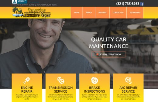 Sunrise Auto Repair in Rockledge website design by Harvest Web Design in Melbourne FL