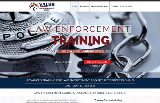 Valor Law Enforcement Training website design by Harvest Web Design in Melbourne FL