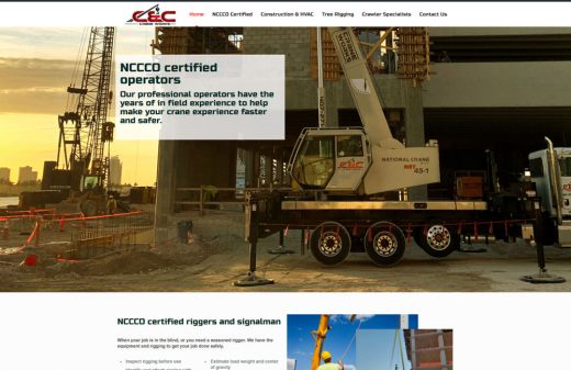 C & C Crane Works Brevard Crane websites by Harvest Web Design in Melbourne FL