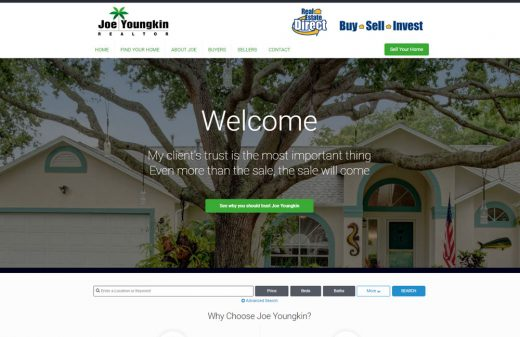 Custom real estate website for Joe Youngkin Brevard realtor by Harvest Web Design in Melbourne