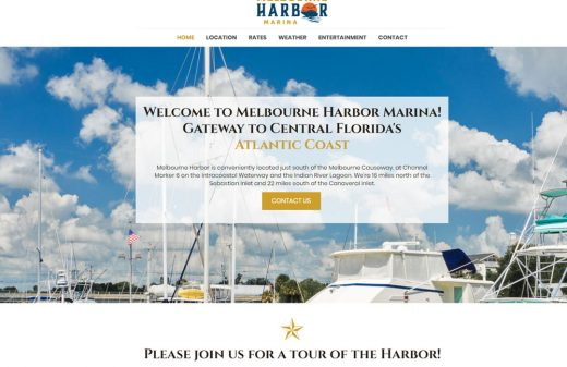 Melbourne Harbor Marina new website design by Harvest Web Design in Melbourne FL