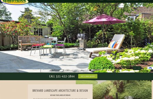 New website design for Robertson's Lawns & Landscaping in Brevard by Harvest Web Design in Melbourne